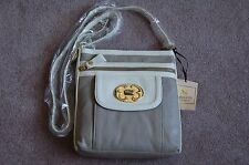 NWT Emma Fox Leather Flap Crossbody Handbag in Pebble/White