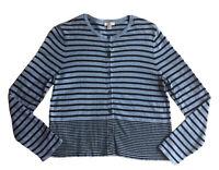 J Jill Sky Blue Black Stripe Buttoned Thin Long Sleeve Cardigan Sweater Medium