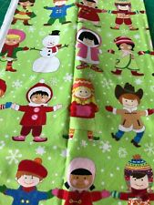 """Fabric Alexander Henry collection """"you+me:merry"""" children of the world green"""