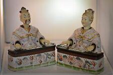 Asian Antique Porcelain Nodder Nodding Chinese Figurines Antique Pair Rare