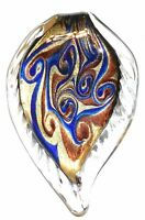 P1242 Dark Blue Bronze Swirl Gold Sparkle 66mm Leaf Drop Lampwork Glass Pendant