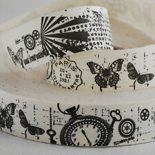Tissu de coton ruban bordure Couture étiquette-vintage steampunk watch butterfly paris