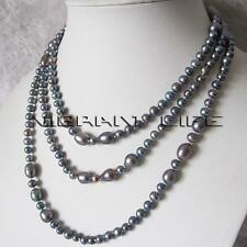 "54"" 4-9mm Dark Gray Freshwater Pearl Necklace Strand Jewelry UK"
