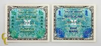 1944 Germany Allied Occupation Post WWII 2 pc Note Lot 1, 1/2 Mark (AU-UNC)