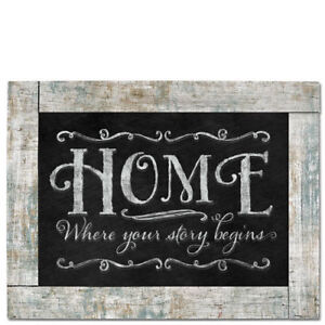 Framed Chalkboard Sign Wall Plaque HOME ~ WHERE YOUR STORY BEGINS Braided Cord