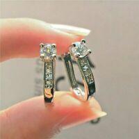 2Ct Round Cut VVS1/D Diamond Elegant Huggie Hoop Earrings 14K White Gold Finish