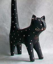 Hand Carved Painted Wood Wodden Black Cat White Spots Figurine kitty folk art