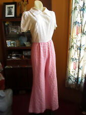 sz 6 True Vtg 70s Pink Tablecloth Plaid Super Bellbottom Pierced Top Jumper
