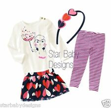 NWT Gymboree BUNDLED & BRIGHT Outfit 12-18 Months,Top,Skirt,Leggings,Headband