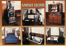 Amish Home, Indiana / Pennsylvania ?, Oven, Bed, Furniture, People --- Postcard