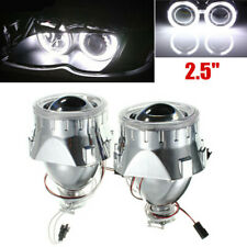 "2x2.5""H1/H4 Universal BI-xenon Projectors Lens Headlight w/Light Guide Angel Eye"