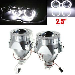 "2x2.5""H1/H4 Universal BI-xenon Projectors Lens Headlight w/Light Guide Angel Eye"
