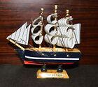 "4x Ship 4.4"" Tall Detailed Wooden Boat Model Nautical Home Decor Collectible -E"