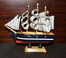 "Ship 4.4"" Tall Detailed Wooden Boat Model Nautical Home Decor Collectible -E"