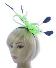 large Neon Green and black Headband Aliceband Hat Fascinator Wedding Ladies Day