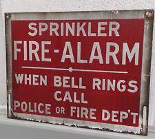 Porcelain Sprinkler Fire Alarm Sign Bell Rings Call Police Fire Dep't SIGN Large