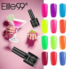 Elite99 Neon Colour Fluorescent Gel Nail Polish Varnish Manicure Top Base Coat