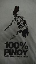 Philippine Shirt  100% Pinoy Pride Map Large Blue T-shirt