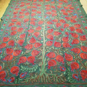 Uzbek green and red suzani.Tapestry wall hanging boho.Embroidered tree of life