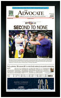 LSU Tigers 2019 SECond to None Champions! Newspaper Art Print Framed in Black!