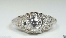 Antique Vintage Deco Diamond Engagement Ring Size 6.75 18K White Gold EGL USA