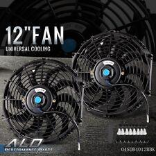 "2X 12"" inch Universal Slim Fan Push Pull Electric Radiator Cooling 12V Mount Kit"