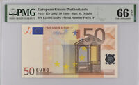Euro 50 Euro Netherlands 2002 P 17 P GEM UNC PMG 66 EPQ