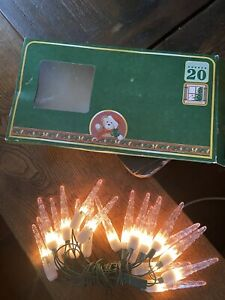 Ancien Guirlande électrique 20 Ampoules Glaçons EVERGREEN Noël Vintage Christmas