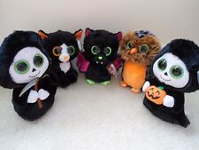 Ty 2015 Halloween Beanie Boo Set of 5;Frights,Grimm,Igor,Midnight,Treats.NEW/TPd