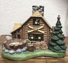 Partylite Log Cabin Ceramic Gone Fishing Lodge Tealight Candle Holder