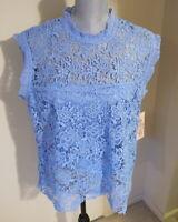 Women's XL Nanette Lepore Highland Blue Spring Fling Sleeveless Lace Top - NWT