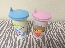 Tupperware Dora & Boots  Bell Tumblers Sippy Cups 10oz Set Of Two New