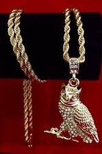 "Mens Hip Hop Iced Out CZ 14K Gold GP Owl Pendant w/ 30"" Rope Chain Necklace USA"