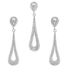925 Sterling Silver 3.24 Carat CZ Cut-Out Tear Drop Pendant and Earring Set