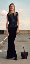 New ZARA STUDIO Pure Wool Long Knit Maxi Dress Tie Back Satin Top Navy Blue XS-S