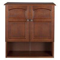 Elegant Home Martha Mahogany Bathroom Wall Cabinet with 2 Doors, Mahogany