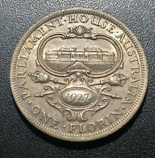 Australia 1927 Florin Silver Coin:  Opening of Parliament House, Canberra