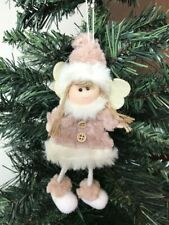 Cute Fluffy Pink Fairy Angel Hanging Christmas Tree Decoration 18cm