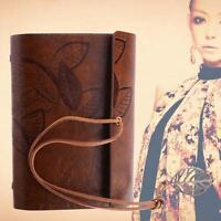 Retro Leather Vintage String Leaf Blank Diary Notebook Journal Sketchbook BRN JЧ