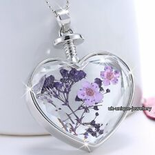 GIFTS FOR HER Purple Flowers Silver Necklace Pendant Women - MOTHERS DAY PRESENT