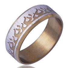 B1337 Arab TYPE Men's Yellow White Gold Filled Band Ring Size 11#