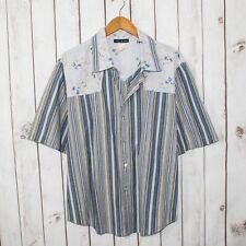 PISTOL PETE Men's Western Button up Shirt Short Sleeve Striped Sz XL Made in USA