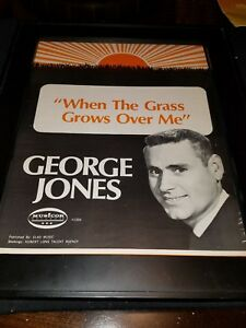 George Jones When The Grass Grows Over Me Rare Original Promo Poster Ad Framed!