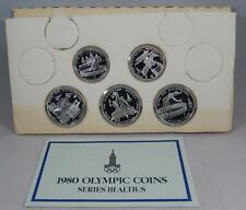 USSR Russia 1980 Olympic Series 3 1979 Silver Proof 5 10 Rouble 5 Coin Set CB224
