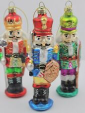 GISELA GRAHAM CHRISTMAS PAINTED GLASS NUTCRACKER  DECORATION BAUBLE X 3
