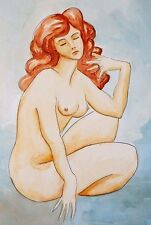 "Painting Original Watercolor Nude Sex Female by Pronkin 16x11"" paper Russian art"