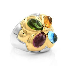 Bulgari Allegra Multi-Color Gemstone Flower Ring in 18K White & Yellow Gold | FJ