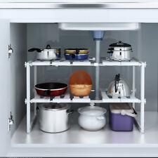 Stainless Steel Under Sink 2 Tier Kitchen Shelf Organizer Rack Storage Holders
