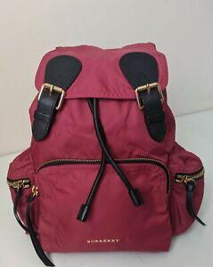 Burberry Rucksack Technical Nylon Leather Golden Chain Medium Plum Pink Bag UK