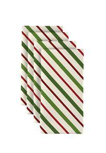 """Christmas Green & Red Diagonal Stripe 18"""" x 18"""" Napkins 1 Dozen"""